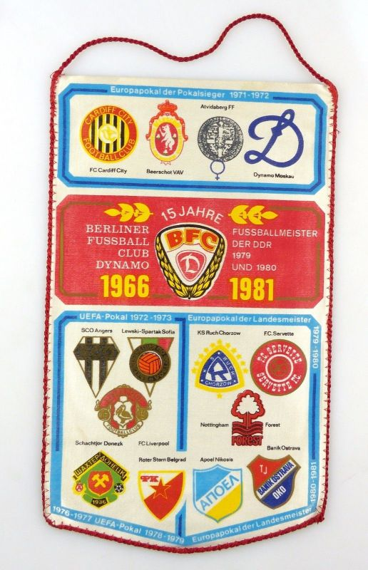 #e8100 Original alter Wimpel Europapokal der Pokalsieger 1971-72 15 Jahre BFC