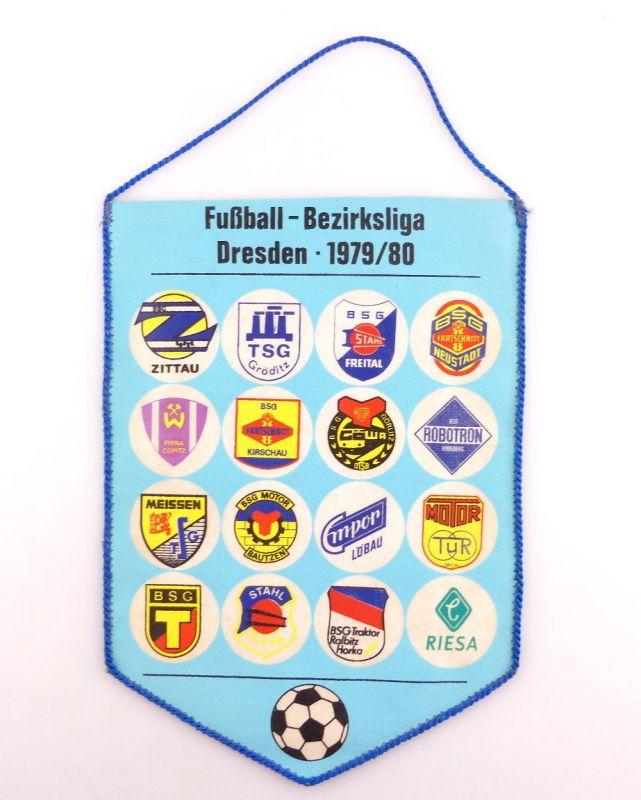 #e3423 DDR Wimpel: Fußball Bezirksliga Dresden 1979/80