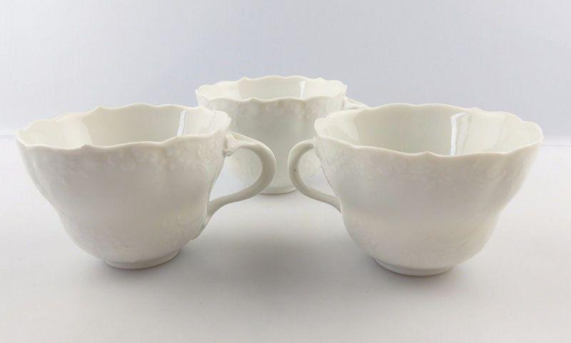 #e6705 3 weiße Meissen Tassen mit Relief Muster Fehlware ohne Beschädigungen