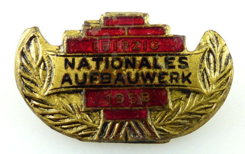 #e1894 DDR Abzeichen Nationales Aufbauwerk Leipzig 1958 goldfarben