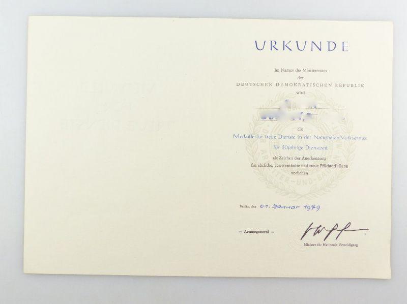 #e3421 DDR Urkunde für treue Dienste in der NVA für 20 jährige Dienstzeit 1979