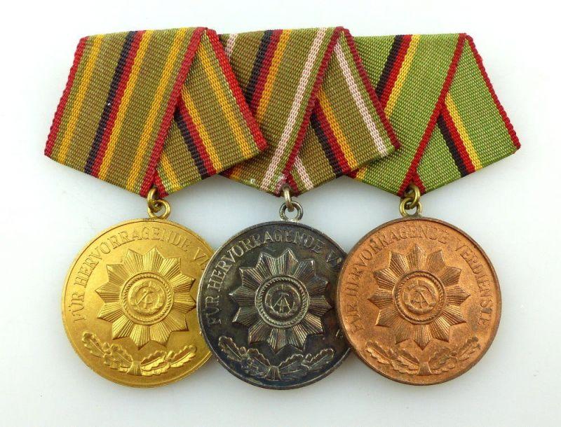 #e3419 DDR Ordenspange Verdienstmedaille der MdI Organe in Gold, Silber, Bronze