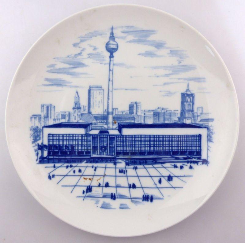 #e9032 Original alter Andenkenteller Berlin- Hauptstadt der DDR Echt Kobalt