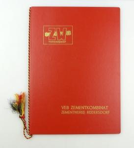 #e4296 Große rote Urkundenmappe / Mappe ZW Rüdersdorf VEB Zementkombinat DDR