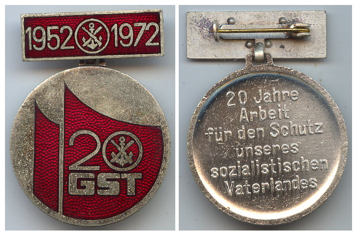 DDR GST Jubiläumsmedaille 20 Jahre GST