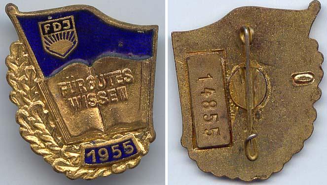 DDR FDJ Abzeichen gutes Wissen 1955 in Gold Nr. 14855