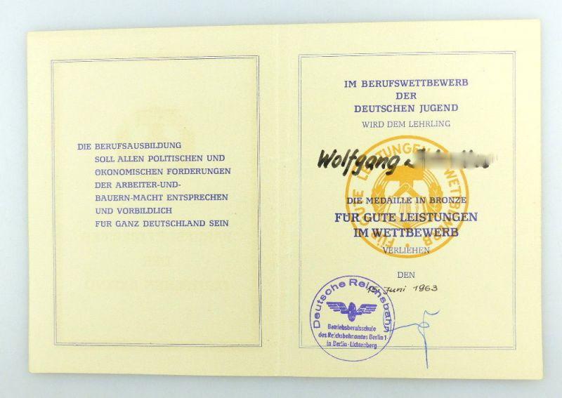 #e3411 Urkunde für Medaille in Bronze Deutsche Reichsbahn DDR 1963 verliehen