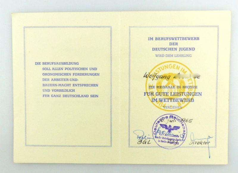 #e3405 Urkunde für Medaille in Bronze Deutsche Reichsbahn DDR 1965 verliehen