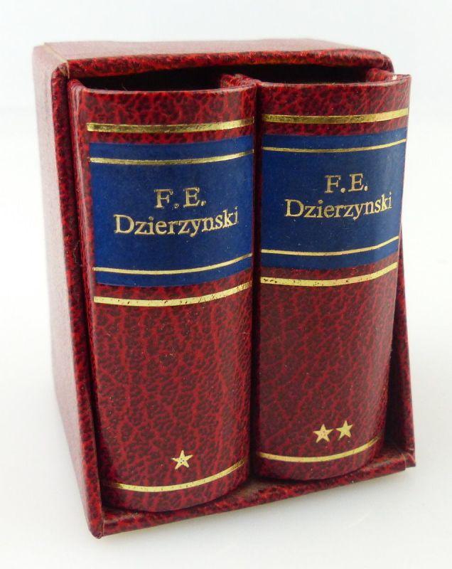2 Minibücher : F.E.Dzierzynski  mit Kopfgoldschnitt , Leipzig 1977 /r649