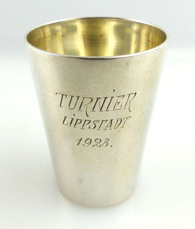 Original alter Schnapsbecher /Wodkabecher aus 800 (Ag) Silber 1928 e1314