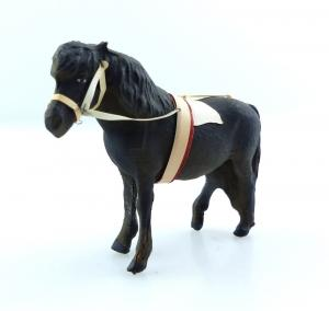 E9376 Antikspielzeug Tier Masse Figur Lineol wohl 50er Jahre Pony mit Zaumzeug
