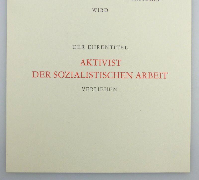 Blanco Urkunde + Abzeichen: Aktivist der sozialistischen Arbeit, so259 3