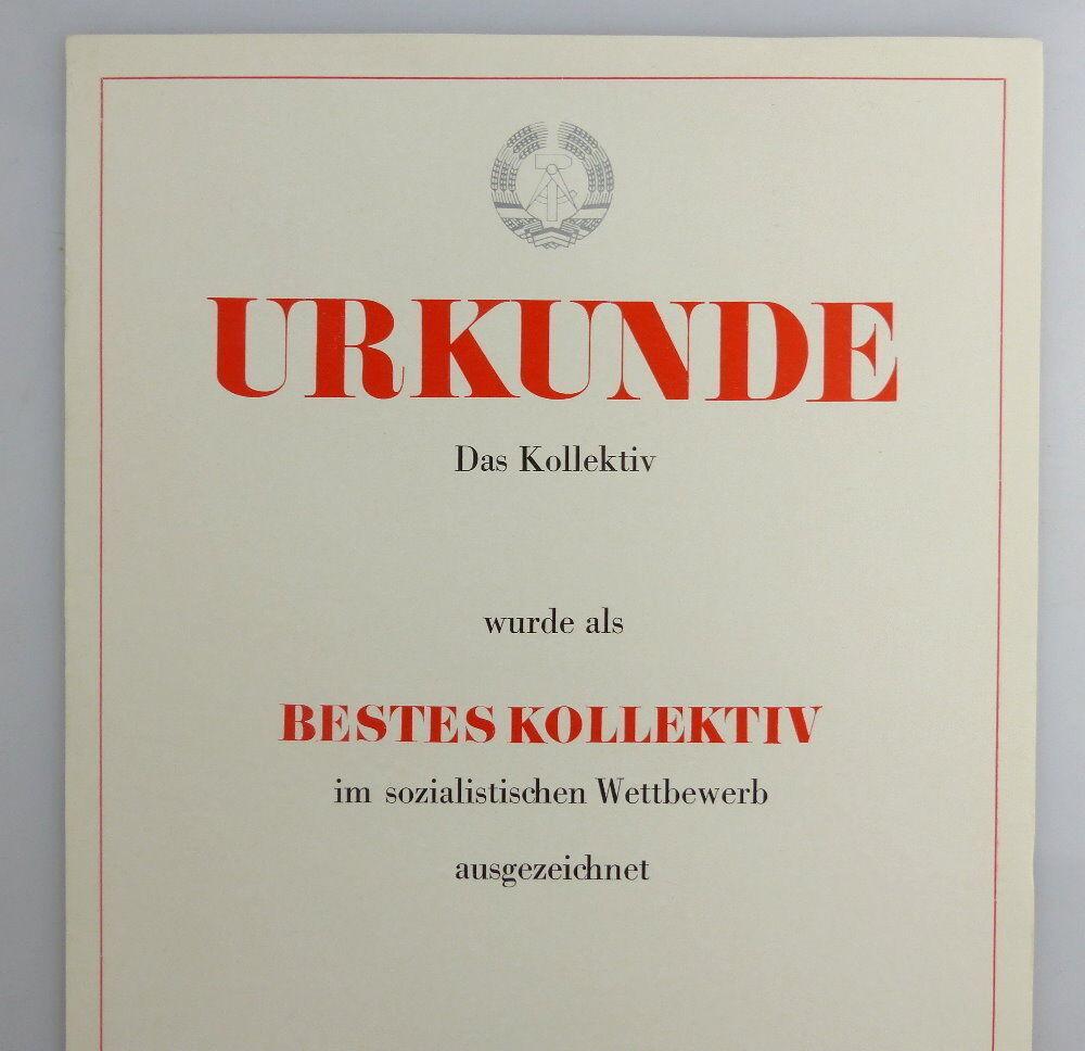 Blanco Urkunde: Bestes Kollektiv im sozialistischen Wettbewerb, so258 1