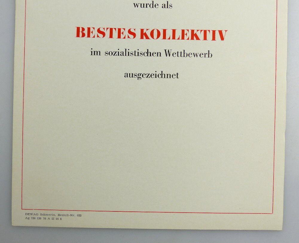 Blanco Urkunde: Bestes Kollektiv im sozialistischen Wettbewerb, so258 2