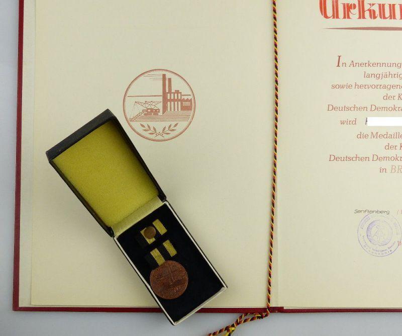 Medaille für Verdienste in der Kohleindustrie der DDR + Urkunde 1976 verl, so255 2