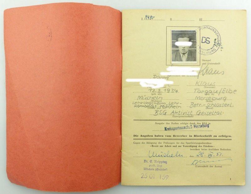 Original Leistungsbuch Deutscher Sportausschuss mit Eintragungen und Urkunde 3