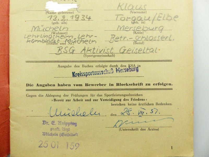 Original Leistungsbuch Deutscher Sportausschuss mit Eintragungen und Urkunde 5