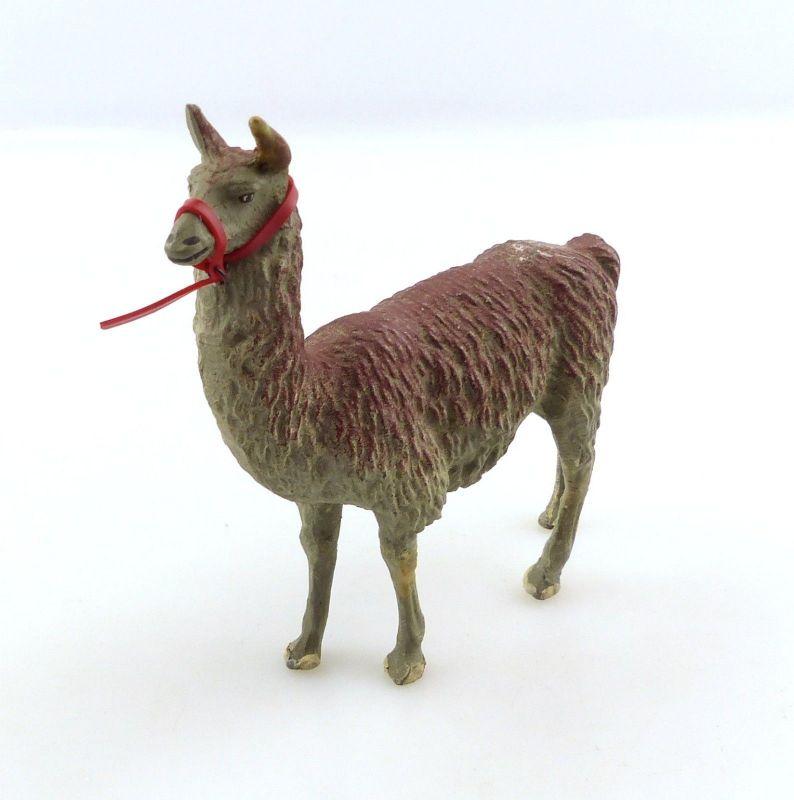E9396 Antikspielzeug Tier Masse Figur wohl Lineol 50er Jahre Lama mit Zaumzeug