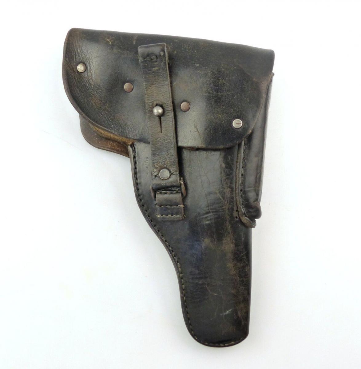 E9530 Alte DDR Pistolentasche aus Leder gestempelt Vol 38 schwarz