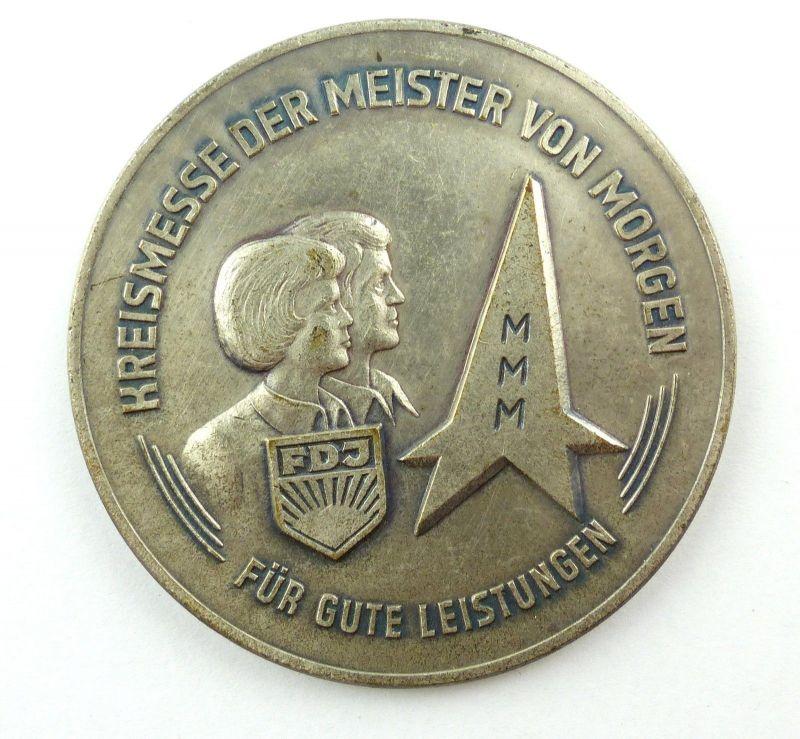 E9485 DDR Medaille Kreismesse der Meister von Morgen MMM FDJ für gute Leistungen