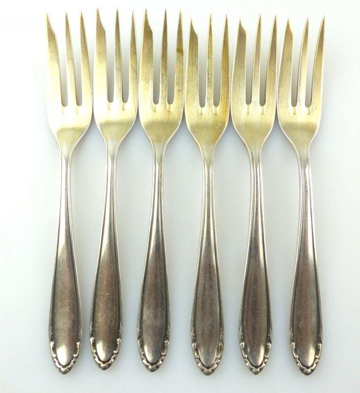 #e8516 6 alte versilberte Kuchengabeln / 100 in Silberauflage Bader