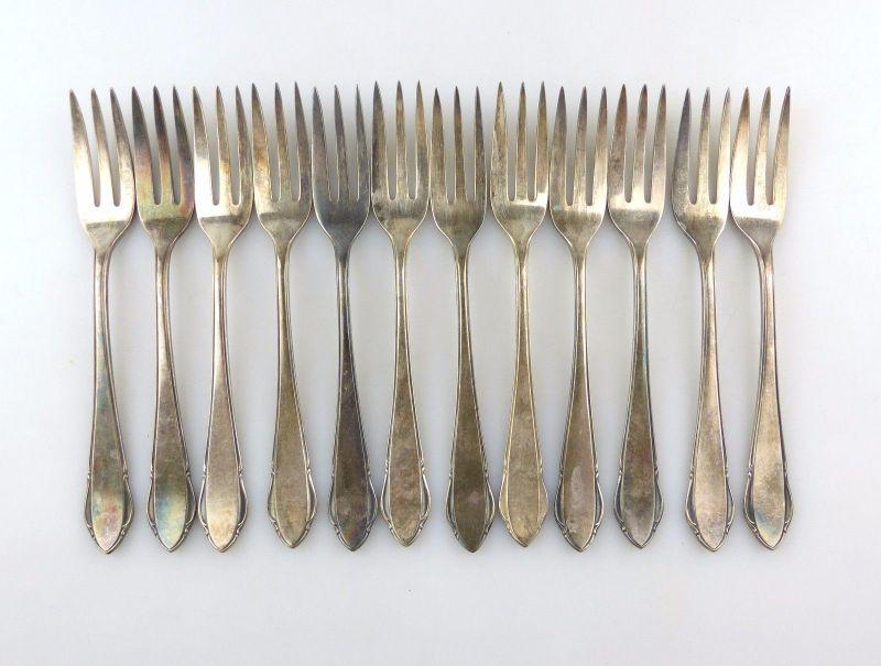 #e7403 12 tolle alte versilberte Kuchengabeln von WMF 90er Silberauflage 0