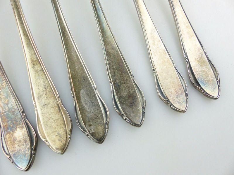 #e7403 12 tolle alte versilberte Kuchengabeln von WMF 90er Silberauflage 1