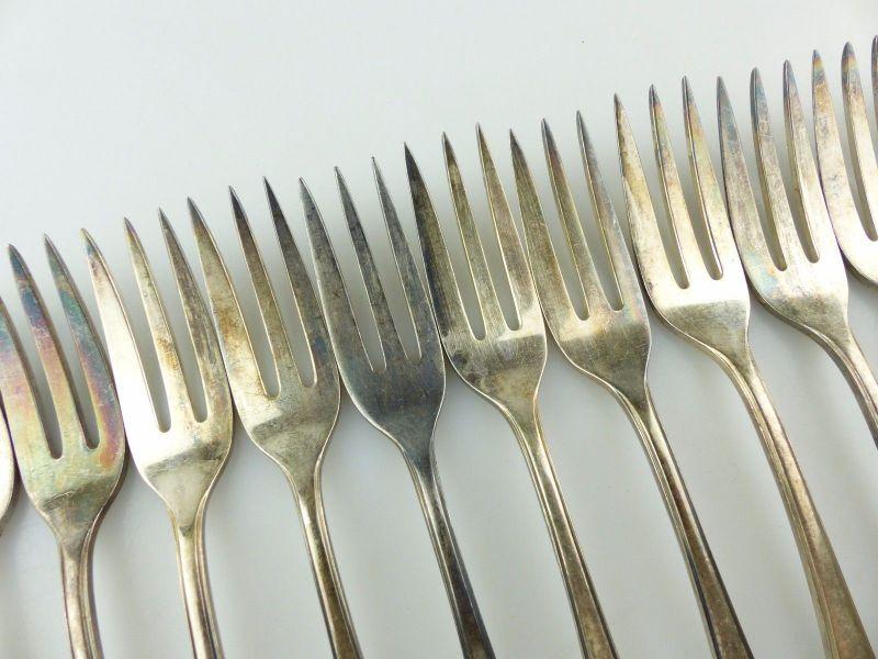 #e7403 12 tolle alte versilberte Kuchengabeln von WMF 90er Silberauflage 2