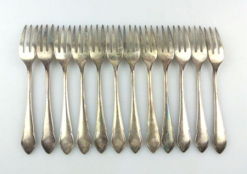 #e7403 12 tolle alte versilberte Kuchengabeln von WMF 90er Silberauflage 3