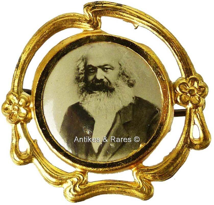 KPD - SPD patriotisches Sympathie Abzeichen Karl Marx ca. 1910 (013KPD) 0