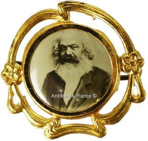 KPD - SPD patriotisches Sympathie Abzeichen Karl Marx ca. 1910 (013KPD)