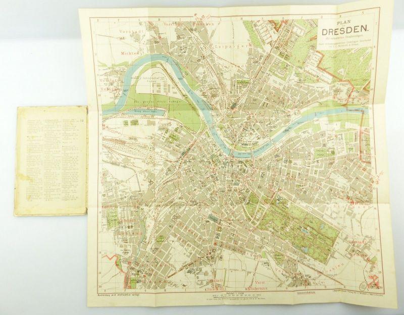 E9619 Kleiner Plan von Dresden mit Straßenverzeichnis Meinhold und Söhne 8