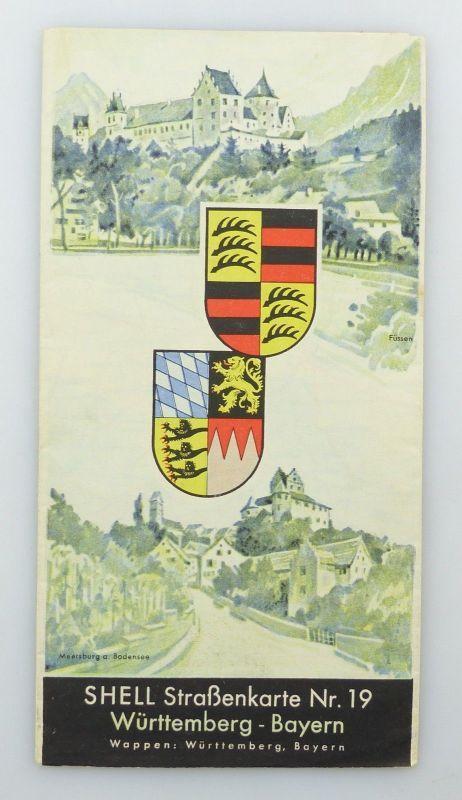 E9617 Shell Straßenkarte Nummer 19 Württemberg Bayern 0