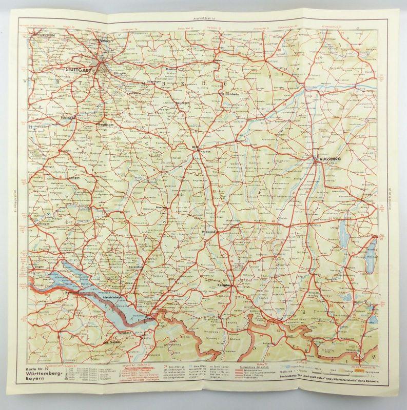 E9617 Shell Straßenkarte Nummer 19 Württemberg Bayern 2