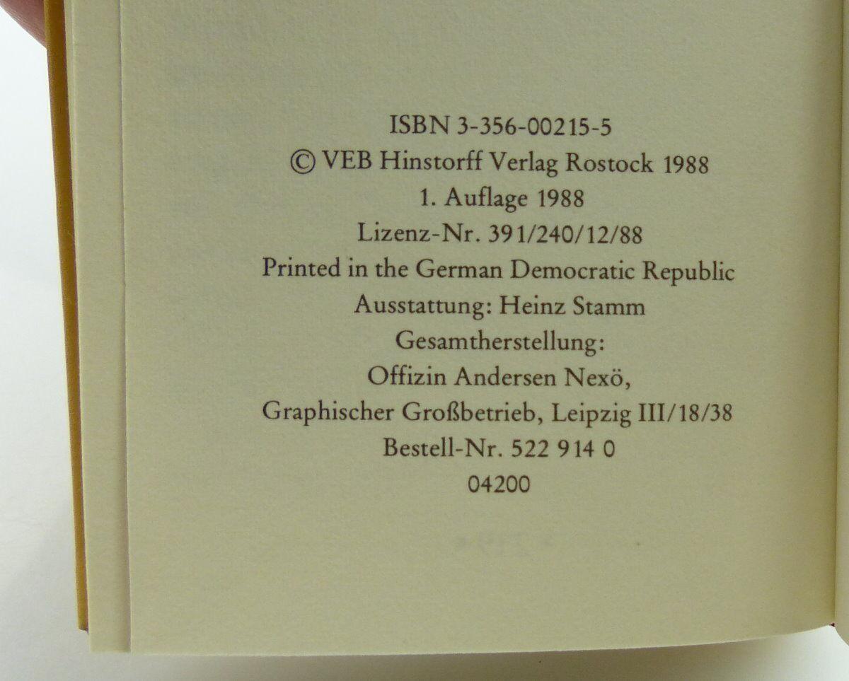 Minibuch : Ein kleines Erotikon Colberts Märchen Hinstroff Verlag Rostock /r661 4