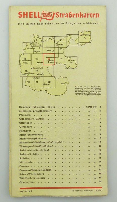 E9615 Shell Straßenkarte Nr 12 Meißen Sachsen Mitteldeutschland Reisedienst 1