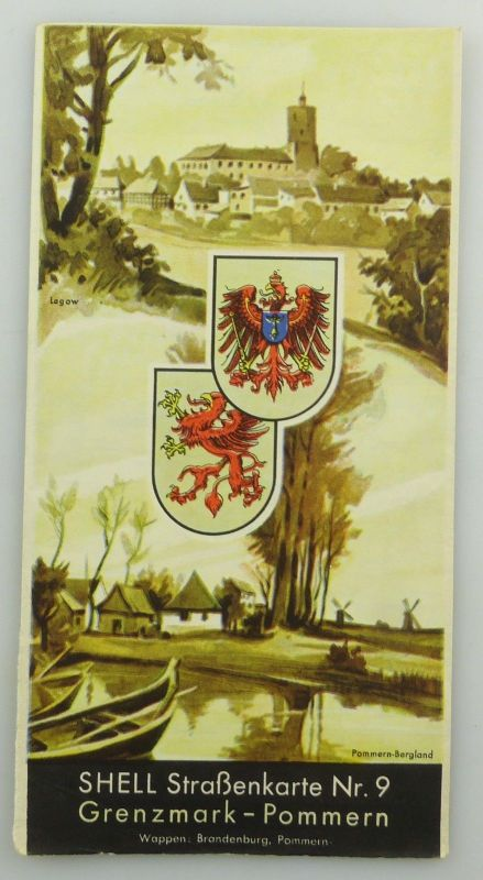 E9607 Alte Shell Straßenkarte Nummer 9 Grenzmark Pommern Bergland
