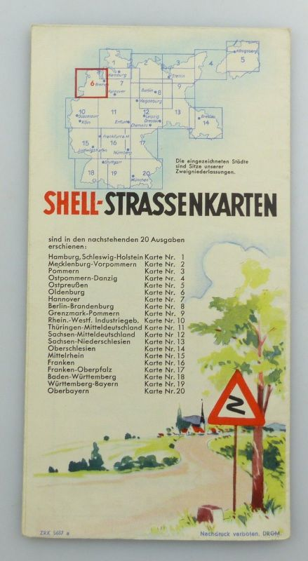 E9605 Alte Shell Straßenkarte Nummer 6 Oldenburg Oldenburger Bauernhaus 1