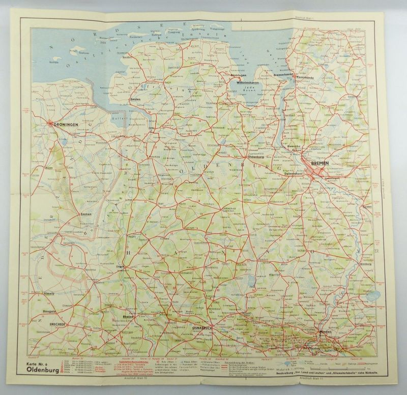 E9605 Alte Shell Straßenkarte Nummer 6 Oldenburg Oldenburger Bauernhaus 3