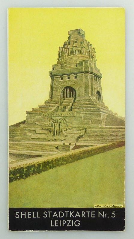 E9602 Alte Shell Stadtkarte Nummer 5 Leipzig Völkerschlachtdenkmal