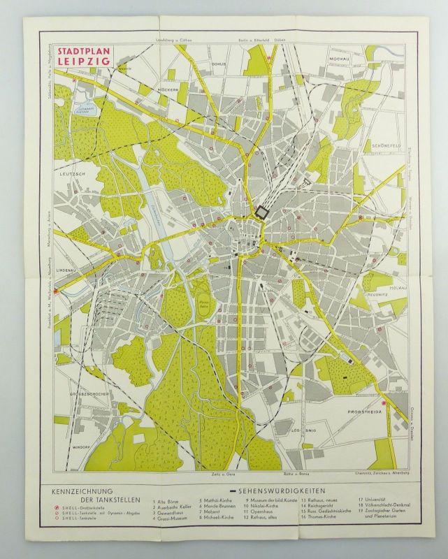 E9602 Alte Shell Stadtkarte Nummer 5 Leipzig Völkerschlachtdenkmal 2