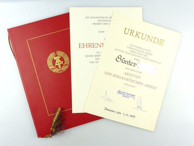 #e6622 Große Urkundenmappe + 2 Urkunden Aktivist der sozialistischen Arbeit 1979 0