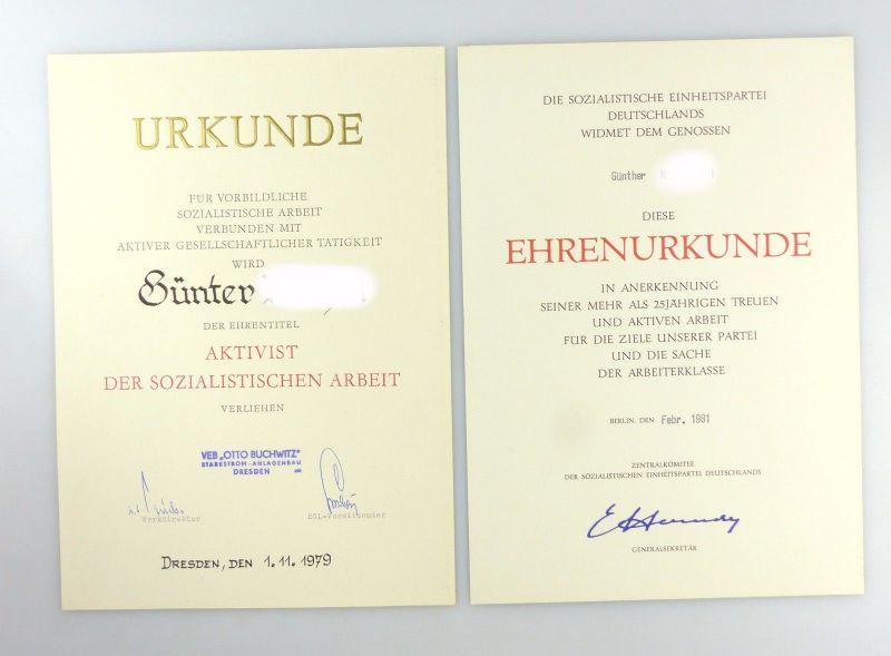 #e6622 Große Urkundenmappe + 2 Urkunden Aktivist der sozialistischen Arbeit 1979 5