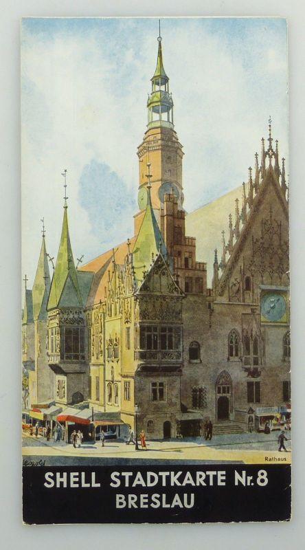 E9600 Alte Shell Stadtkarte Nummer 8 Breslau