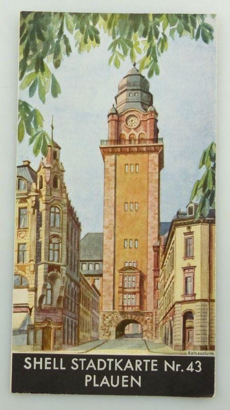 E9595 Alte Shell Stadtkarte Nummer 43 Plauen