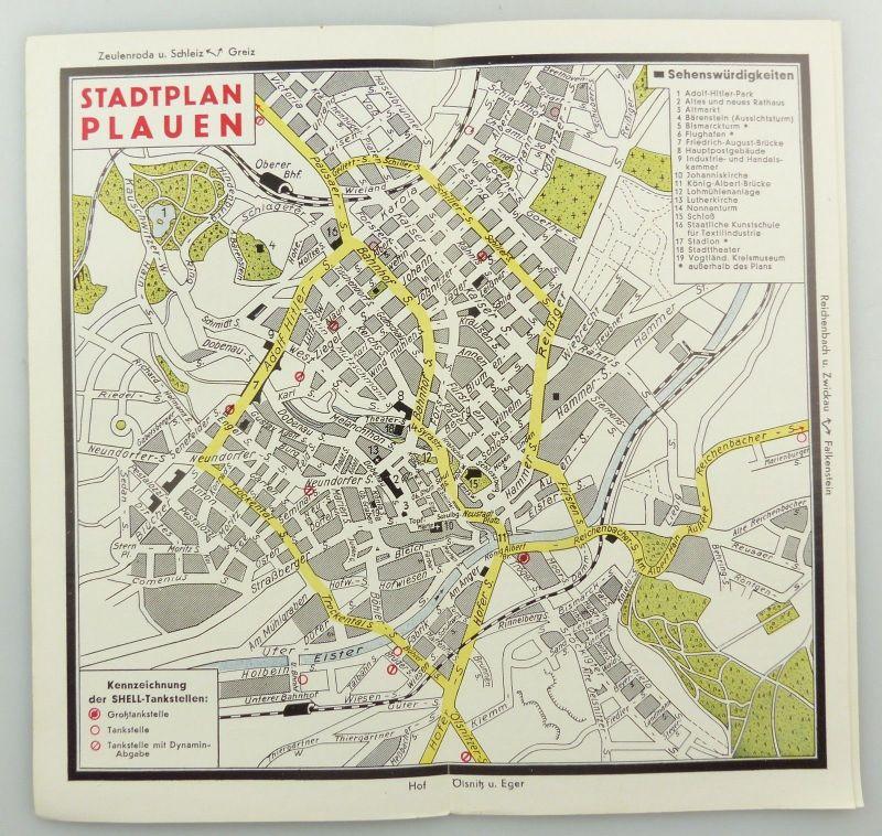 E9595 Alte Shell Stadtkarte Nummer 43 Plauen 2