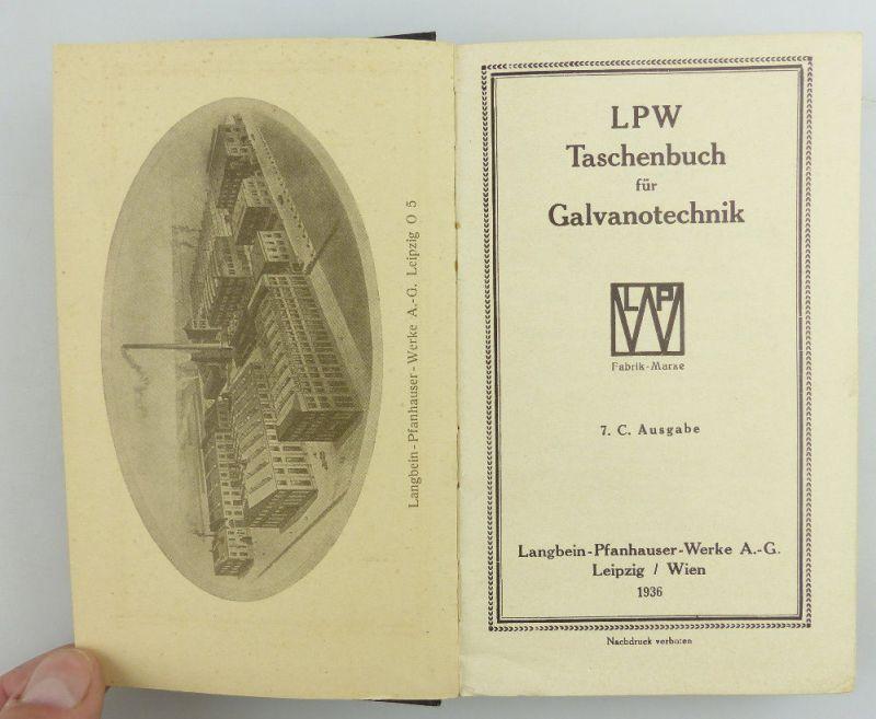 Buch: original altes Buch von 1936 LPW Taschenbuch für Galvanotechnik e853 6