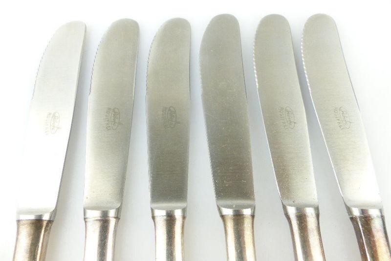 #e2299 Sechs alte Messer in 40er Silberauflage 3