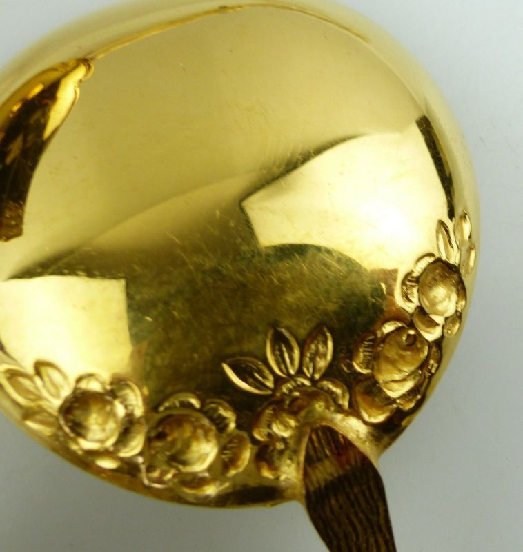 E9195 6 vergoldete Kaffeelöffel 1 Gebäckzange 1 Zuckerzange 1 Sahnelöffel Rosen 10