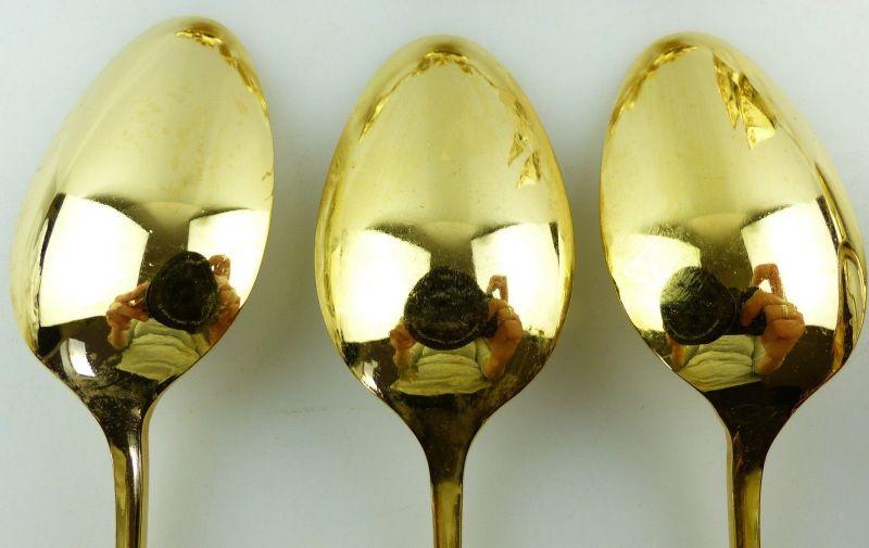 E9195 6 vergoldete Kaffeelöffel 1 Gebäckzange 1 Zuckerzange 1 Sahnelöffel Rosen 9